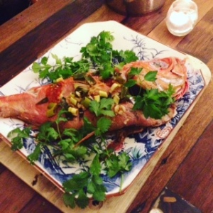 Steamed Asian-style red snapper