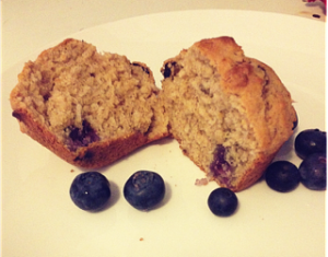 Hot and steaming, straight from the baking tray – Easy banana, blueberry, coconut muffins